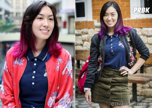 """A Tina (Ana Hikari), de """"Malhação"""", integra suas jaquetas bombers no dia a dia, por cima do uniforme do colégio"""