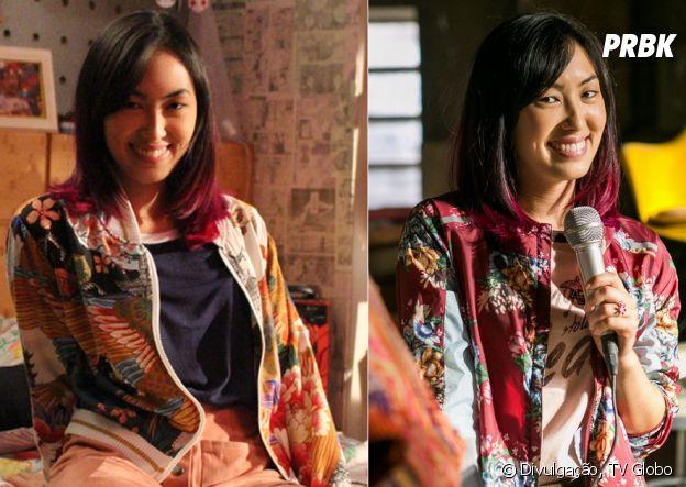 """As jaquetas bombers são grande parte do estilo da Tina (Ana Hikari), de """"Malhação"""""""