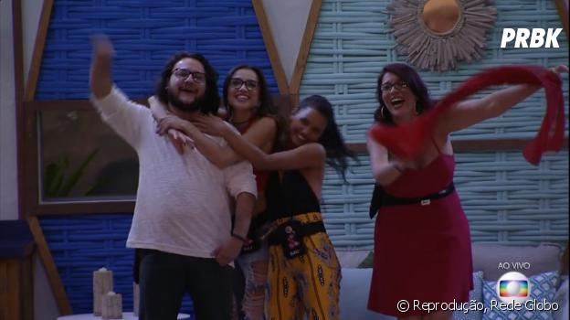 """Mesmo eliminados da primeira prova, Diego, Gleici, Mara e Paula estão no Tá Com Tudo e vão disputar liderança no """"BBB18"""""""
