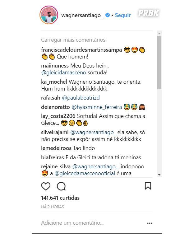 Ex-BBB, Wagner Santiago posta foto só de cueca e Gleici Damasceno comenta