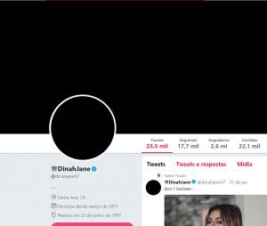 """Do Fifth Harmony: Dinah Jane deixa seu Twitter todo """"preto"""". Será que vem projeto novo?"""