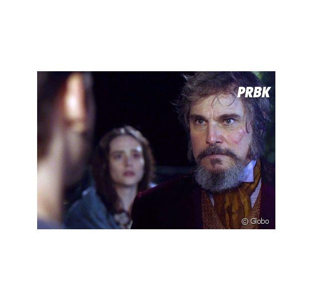 """Em """"O Tempo Não Para"""", Samuca (Nicolas Prattes) decide pedir a mão de Marocas (Juliana Paiva) para Dom Sabino (Edson Celulari)"""