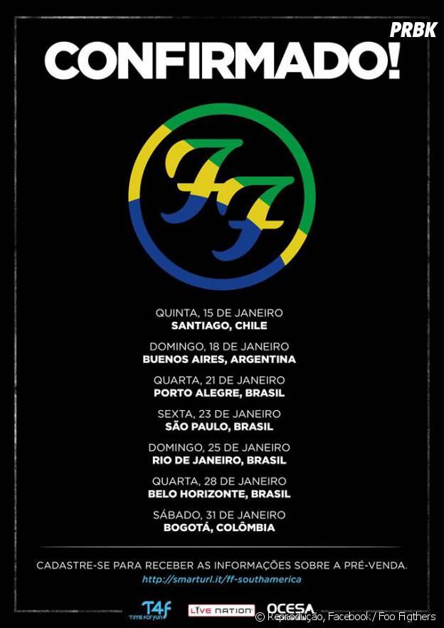 Foo Fighters vão tocar no Rio de Janeiro, São Paulo, Belo Horizonte e Porto Alegre em 2015