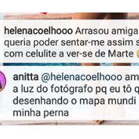 """Anitta é gente como a gente e fala sobre celulite: """"Tô quase desenhando o mapa mundi na minha perna"""""""