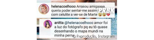 Anitta responde comentário falando sobre celulites