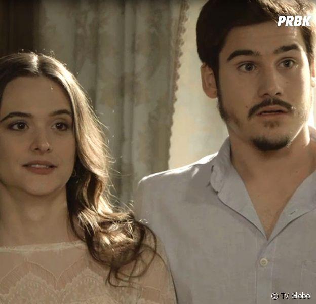 """Em """"O Tempo Não Para"""": Samuca (Nicolas Prattes) e Marocas (Juliana Paiva) falam poucas e boas para Lúcio (João Baldasserini)"""