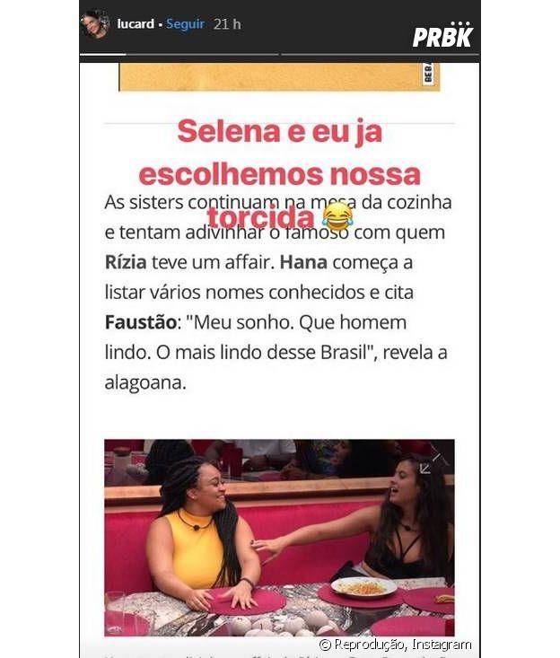 """No """"BBB19"""", Rízia elogia Faustão e esposa do apresentador reage"""