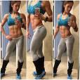 A musa fitness Bella Falconi adora compartilhar durante os treinos imagens de seu corpo sarado e tanquinho trincado com seus seguidores