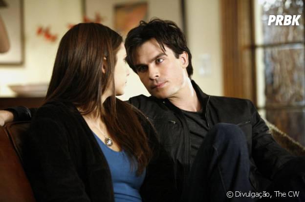 """Em """"The Vampire Diaries"""", Damon (Ian Somerhalder) e Elena (Nina Dobrev) vão conseguir ficar juntos?"""