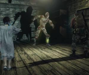 """Natalia e Barry enfrentando um perigoso inimigo em """"Resident Evil Revelations 2"""""""