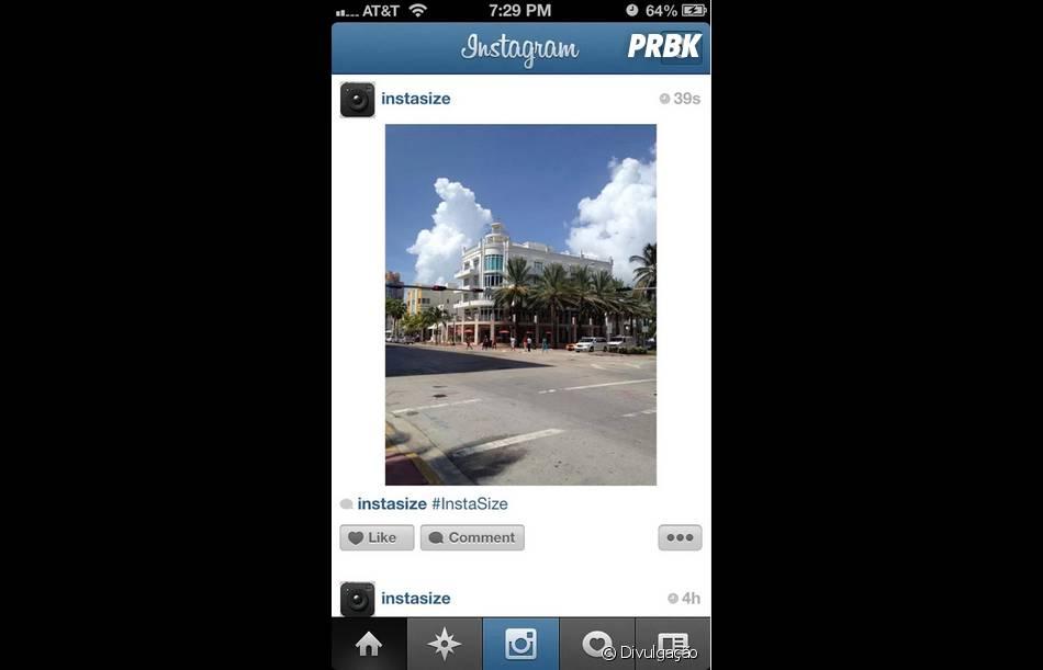 O Instasize coloca uma borda quadrada na foto para ela não ser cortada no Instagram