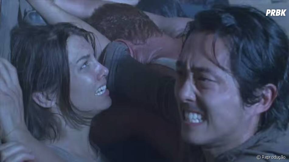 """Glenn (Steven Yeun) e Maggie (Lauren Cohan) lutam para sobreviver em """"The Walking Dead"""""""