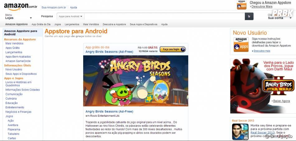A Amazon anunciou aversão brasileira de sua loja virtual de aplicativos