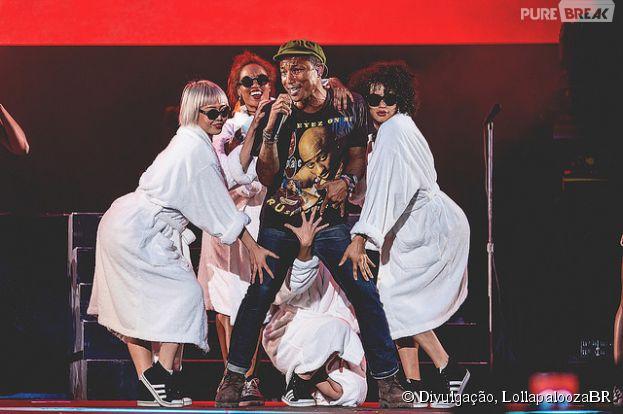 Pharrell Williams foi a atração principal deste domingo (29) no Lollapalooza 2015