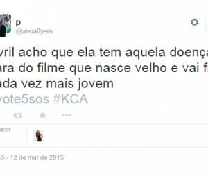"""Os internautas compararam a doença de Avril Lavigne com o filme """"O Curioso Caso de Benjamin Button"""""""