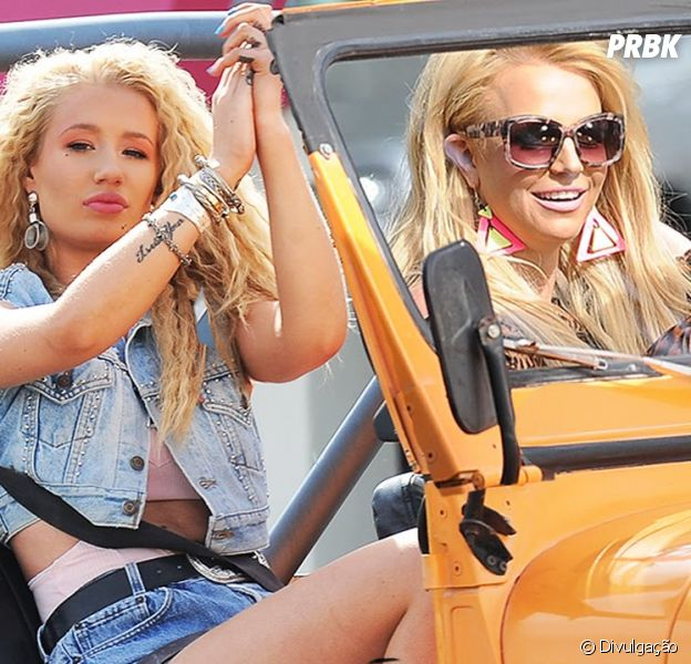 "Britney Spears e Iggy Azalea na gravação do clipe ""Pretty Girls"""