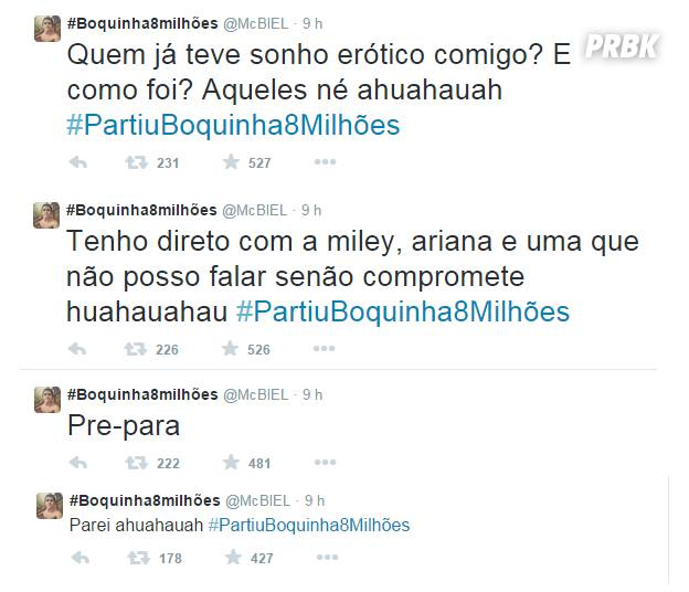 MC Biel conta sobre sonhos eróticos com Anitta, Ariana Grande e Miley Cyrus para fãs no Twitter