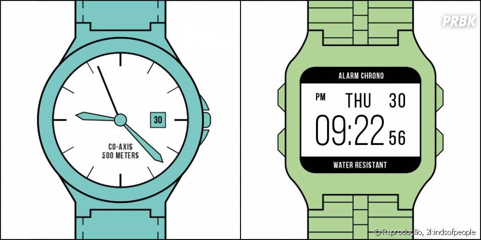 Você prefere relógio de ponteiro ou digital?