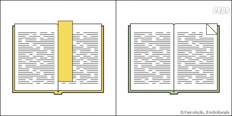 Como você marcas páginas do livro que está lendo?