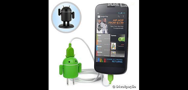 Carregador só para Android e dispositivos USB é fofo e funcional!