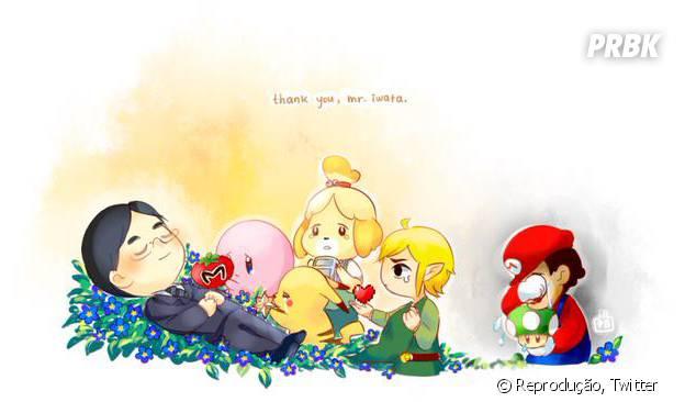 Arte de um fã paa homenagear o falecido CEO da Nintendo, Satoru Iwata