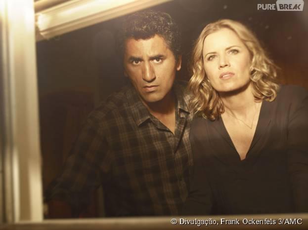"Em ""Fear The Walking Dead"", Travis (Cliff Curtis) e Madison (Kim Dickens) são os protagonistas"