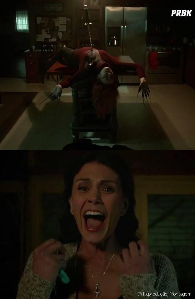 """No final do episódio, Melissa (Melissa Ponzio) deu de cara com um corpo e a katana de Kira (Arden Cho) na mesa de sua cozinha em """"Teen Wolf"""""""