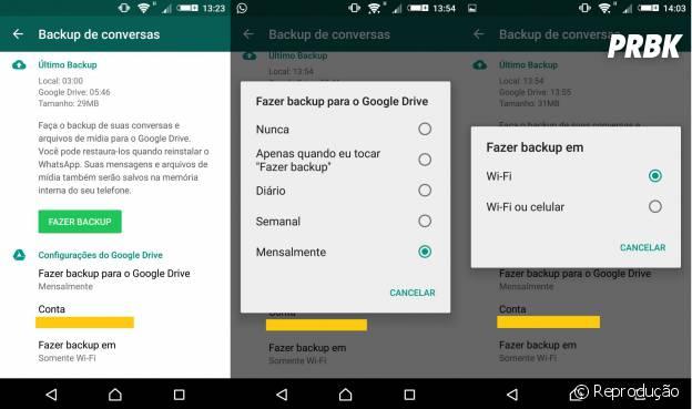 Versão 2.12.224 do Whatsapp salva conversas na nuvem do Google Drive