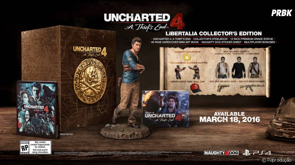 """Edição de Colecionador de """"Uncharted 4: A Thief's End"""" inclui estátua de Nathan Drake"""
