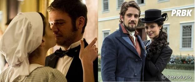 """Em """"Além do Tempo"""": Lívia (Alinne Moraes) é noiva de Pedro (Emílio Dantas) e Felipe (Rafael Cardoso) se casou com Melissa (Paolla Oliveira)"""