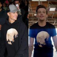 Justin Bieber e Louis Tomlinson, do One Direction, vestem a mesma estampa! Quem ficou mais bonito?