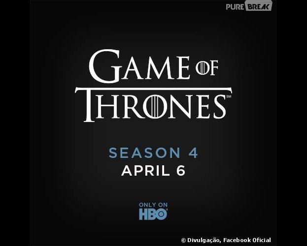 """""""Game of Thrones"""" estreará sua quarta temporada dia seis de abril!"""