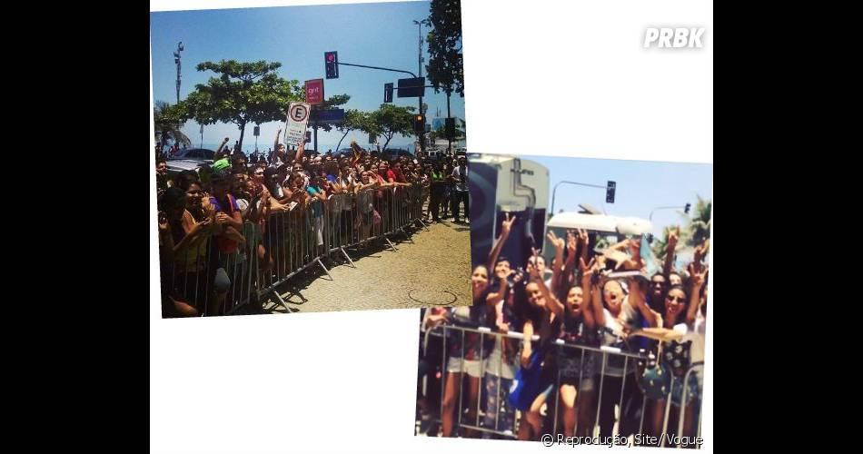 Depois de fugir dos paparazzi no Aeroporto do Galeão no Rio, Rihanna deixa os fãs esperando na porta do Hotel Fasano, na Zona Sul carioca