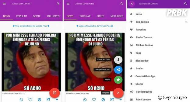 No Whatsapp: aplicativo Zueiras Sem Limites