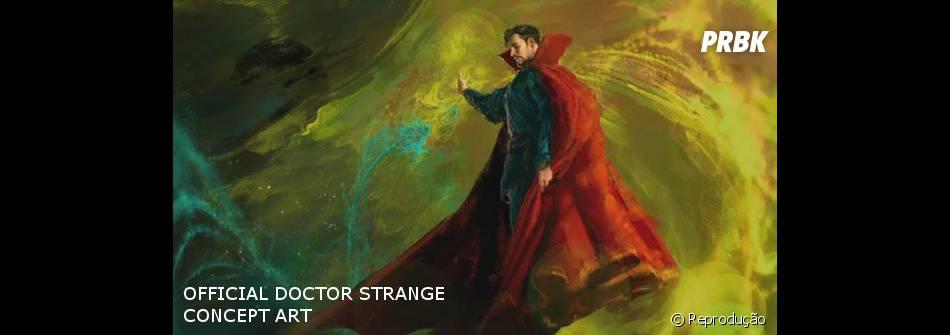 """O longa """"Doutor Estranho"""" também ganhou sua primeira arte com Benedict Cumberbatch no papel do personagem-título"""