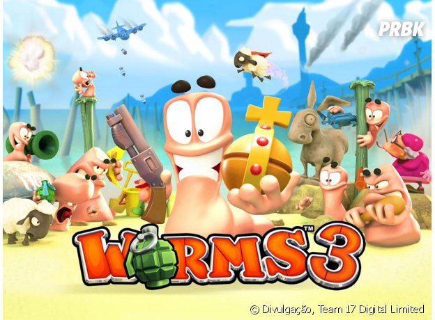 """""""Worms 3""""é um dos melhores games multiplayer para jogar com os amigos!"""