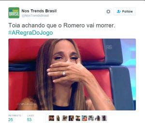 """Em """"A Regra do Jogo"""", Tóia (Vanessa Giácomo) acredita que Romero (Alexandre Nero) morreu e vira piada nas redes sociais"""