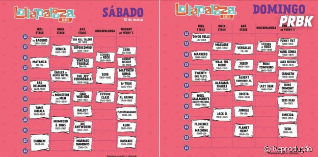 Lollapalooza divulga quadro de horários dos shows