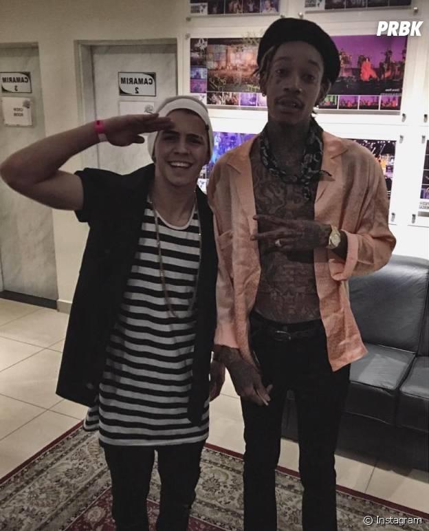 Biel conheceu Wiz Khalifa, um de seus maiores ídolos, e até ficou sem ter o que falar ao lado do cara
