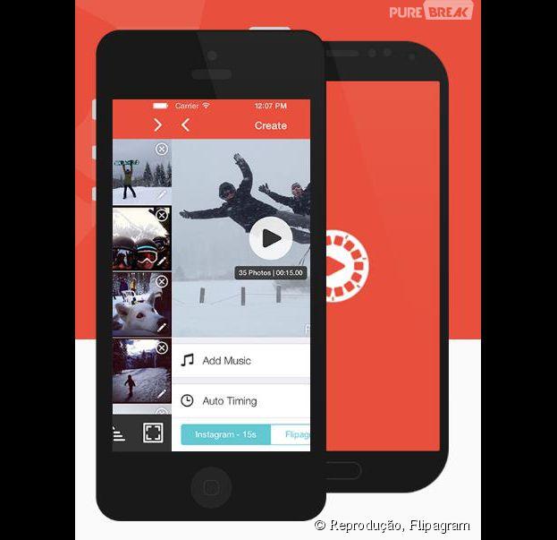 Com o Flipagram você pode reunir 35 fotos do seu Instagram, facebook ou do seu smartphone num slideshow