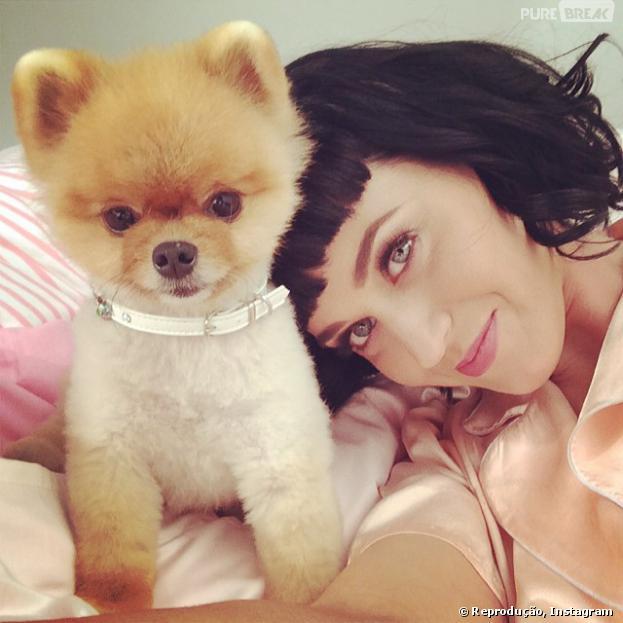 Katy Perry usou sua conta no Instagram para postar foto romântica e exibiu novo corte de cabelo