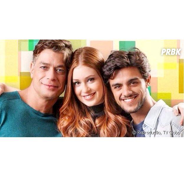 """Equipe de """"Totalmente Demais"""" ainda não decidiu se Eliza (Marina Ruy Barbosa) fica com Jonatas (Felipe Simas) ou Arthur (Fábio Assunção) no fim da novela"""