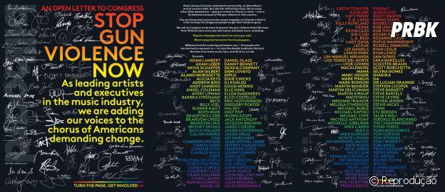 Revista Billboard reúne artistas para assinatura de carta-aberta ao governo americano