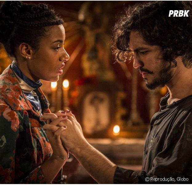 """Em """"Velho Chico"""", Miguel (Gabriel Leone) e Sophie (Amy Camara) reatam namoro!"""