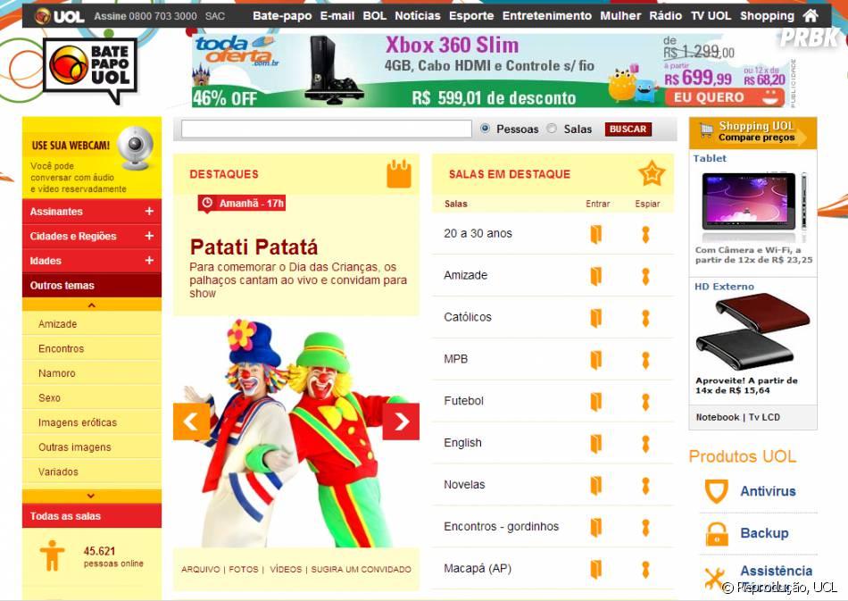 Sim, o Bate-papo UOL ainda existe e esta é a interface dele hoje em dia