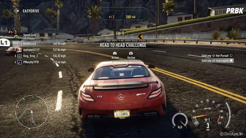 """Um pouco da interface do úlimo game da franquia, """"Need For Speed Rivals"""""""