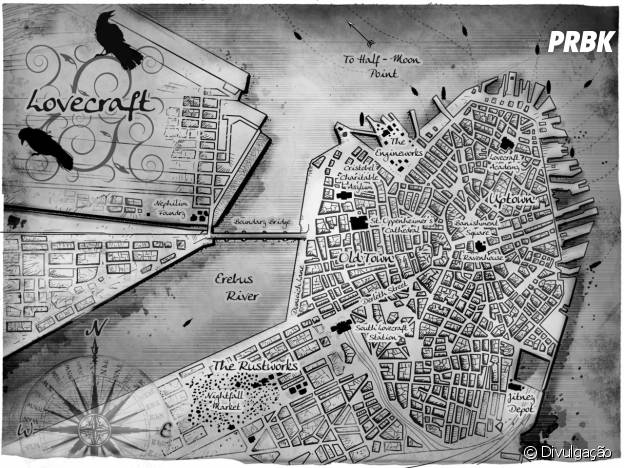 """Mapa da cidade de Lovecraft do livro """"Espinho de Ferro"""""""