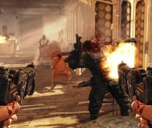 """A jogabilidade de tiro em primeira pessoa de """"Wolfenstein: The New Order"""" relembra clássicos como Quake, mas com gráficos desta geração"""