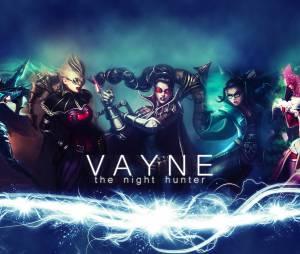 A atiradora Vayne em algumas das suas skins