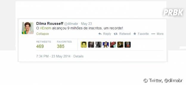 A Presidente Dilma comenta em sua twitter o recorde de inscrições no Enem 2014